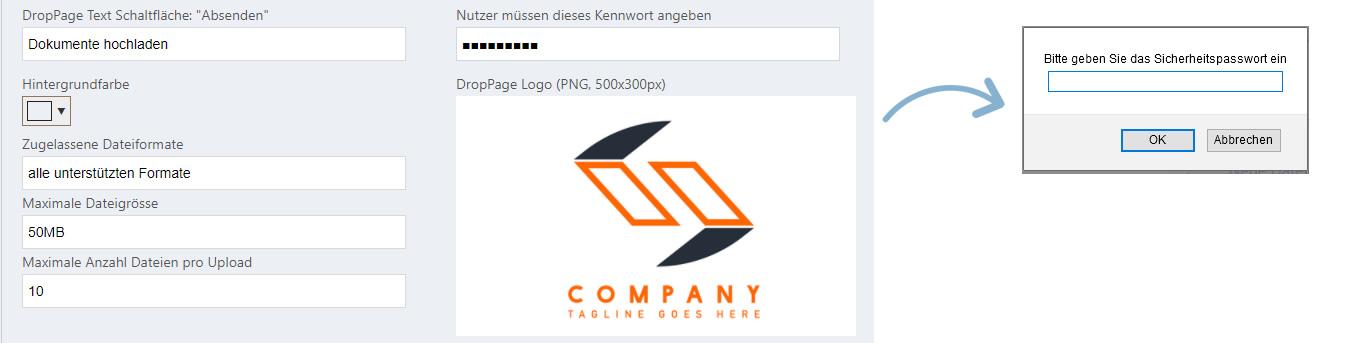 Passwort für die DropPage Seite festlegen