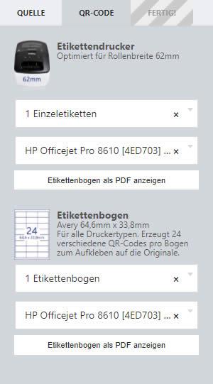QR Code Drucker auswählen
