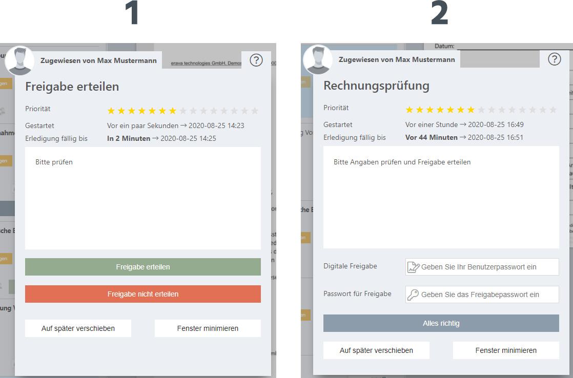 Verschiedene Darstellungsweisen Workflow Dialog